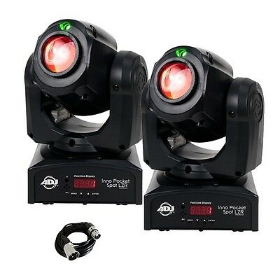 2x American DJ Inno Pocket Spot LZR Moving Head Lighting Effect with Cable
