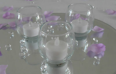 Roly Poly Clear Glass Tea Light Tealight Yankee Candle Holders Votive - Wedding