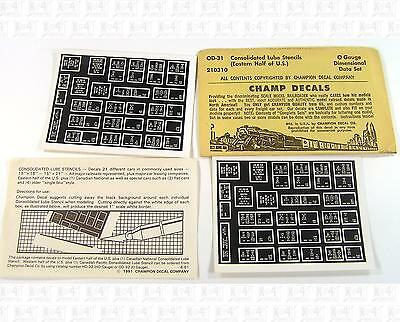Champ O Decals Consolidated Lube Stencils Set OD-31