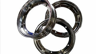 "Vespa Chromed Wheel Rims X 3 New Px/lml/p/t5 Etc 10""  Split Rim Genuine Lml Part"