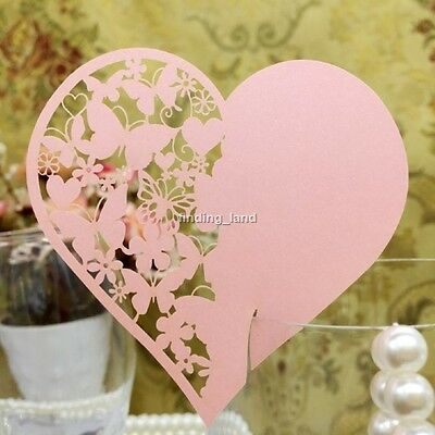 Luxury Heart Wedding Party Wine Glass Place Name Laser Cards  -#2 - 16 Colours
