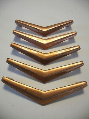 5 Vintage COPPER Plated CHEVRON BOOMERANG Drawer Door PULLS V-Shaped Handles