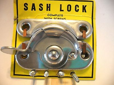 Vtg NOS CHROME Plated Steel Window Sash Locks Standard Household Hardware U.S.A.