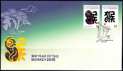 Christmas Island 2016 Year of the Monkey FDC Stamps  New