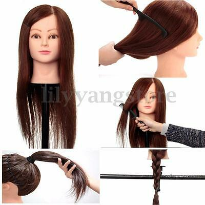 100% Real Human Hair Hairdressing Salon Practice Training Head Mannequin + Clamp