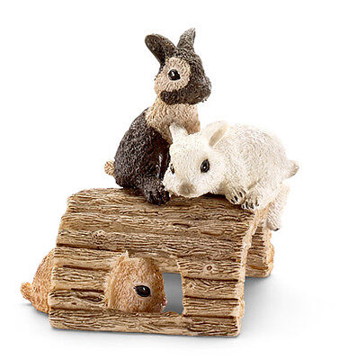 FREE SHIPPING | Schleich 13748 Baby Rabbits Playing Toy Model - New in Package