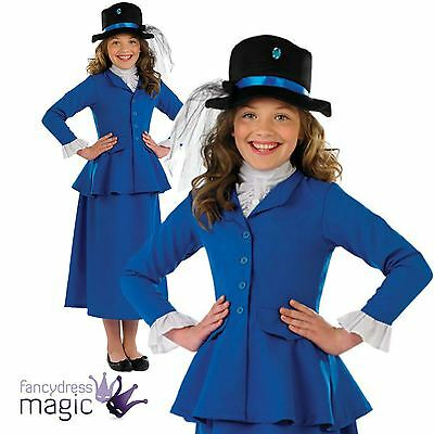 Girls Blue Victorian Nanny Book Week Day Mary Poppins Fancy Dress Costume Outfit