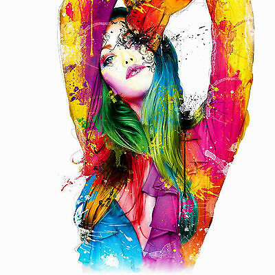 Lady Colourful Portrait Arms Up Abstract WALL ART CANVAS FRAMED OR POSTER PRINT