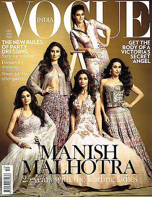 VOGUE INDIA 12/2015 Manish Malhotra SRIDEVI Kajol SHANINA SHAIK Karlie Kloss NEW