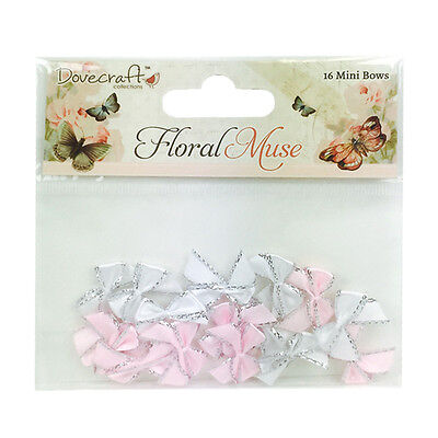 16 Floral Muse Pink & White Mini Ribbon Bows Card Making Craft Embellishments