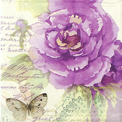 4x Purple Rose & Butterfly Paper Napkins for Decoupage Decopatch Craft