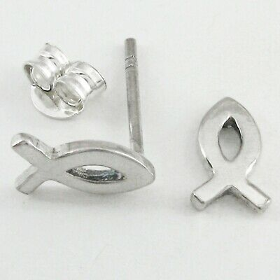 """ICHTHYS or """"JESUS Fish"""" Post Earrings in SOLID 925 Sterling Silver - NEW!"""