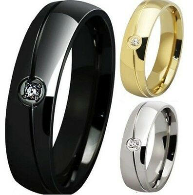 6MM Size 5-15 Stainless Steel Ring Band Wedding Anniversary Engagement Classical