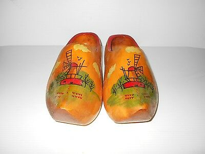 Vintage Wood Wooden Hand Painted Shoes
