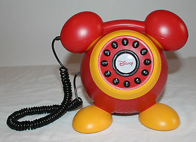 DISNEY Mickey Mouse Phone Red & Yellow Disney Corded Phone Unique