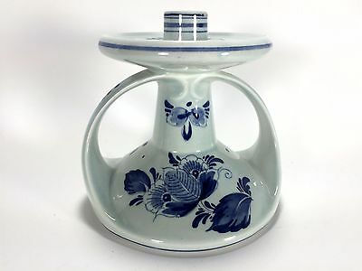Delft's Blue Hand Crafted Hand Painted Signed Traditional Single Candle Holder A