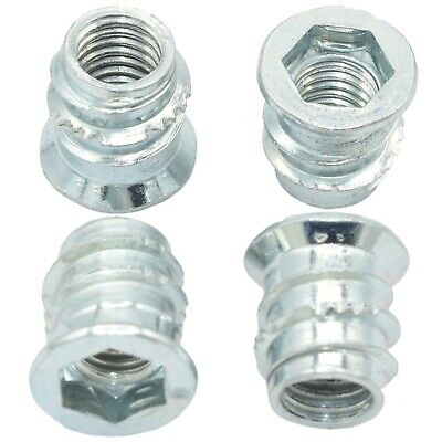 M10 x 20 & 25mm HEX DRIVE SCREW IN TYPE D CSK THREADED INSERT BUSHING FOR WOOD