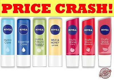 NIVEA LIP CARE BALM BUTTER FRUITY, ESSENTIAL, HYDRO, PEARLY, MEN, COLOUR 4.8g