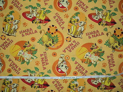 Rare Licensed Disney Lion King Simba Nala 100% Cotton Quilting Fabric Sold By FQ
