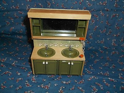 """ksm. Vintage Lundby of Sweden Dollhouse Miniature Green Double Sink 4 7/8"""" High"""