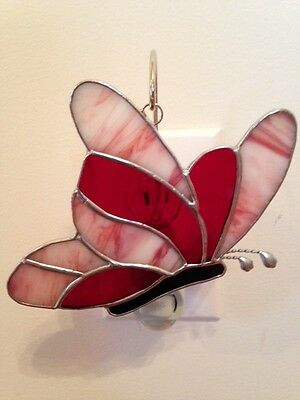 Stained Glass Butterfly/Red and Pink/Suncatcher/Switchable Cover
