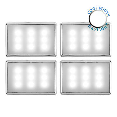 4 x Plug In Cool White LED Chrome Under Kitchen Cupboard Cabinet Lights Lighting