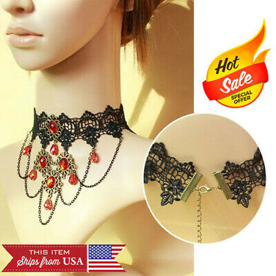 Victorian Red Jewel Gem Rose Lace Lolita Choker Collar Hanging Chains Necklace