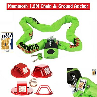 Mammoth Thatcham Steel Chain Pad Lock 120 Cm And Heavy Duty Wall Ground Anchor