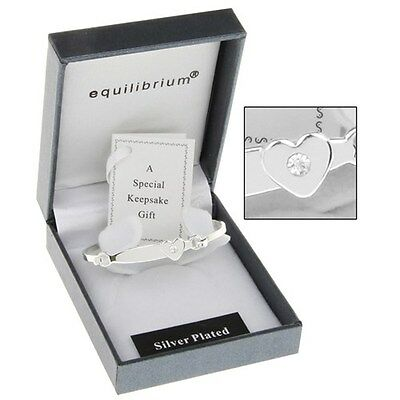 bracelet Equilibrium Silver Plate Christening Heart Bangle gift childs baby