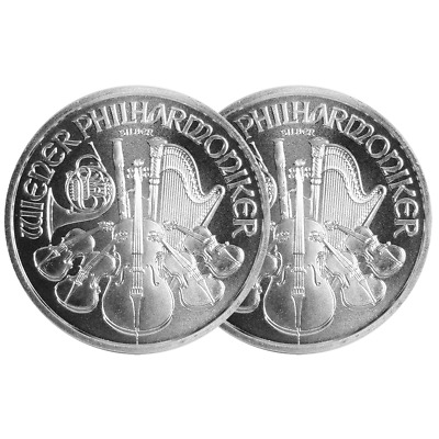 Lot of 2 - 2016 1.50 Euro Silver Austrian Philharmonic 1 oz BU