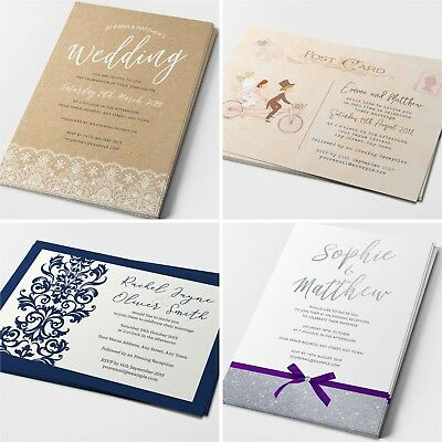 Personalised Wedding Invitations Cards Postcard Day or Evening (G1)