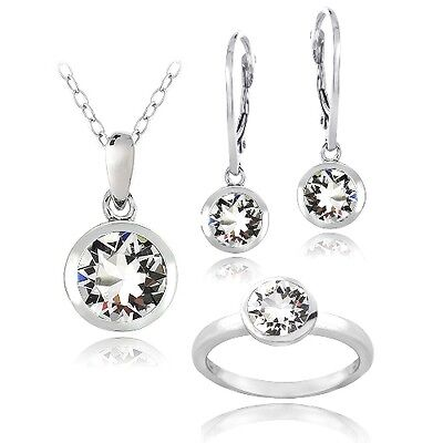 925silver transparent solitaire Boucles d'oreilles, collier &