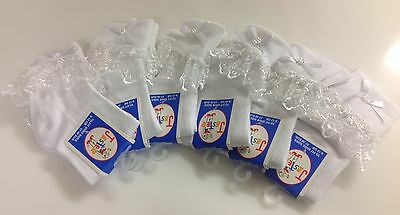 6 Pairs Girls & Baby White Socks White Frilly Lace Top with White Bow