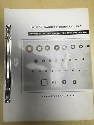 Operator & Maintenance Manual for Boesch Toroidal Winders Winding Machines
