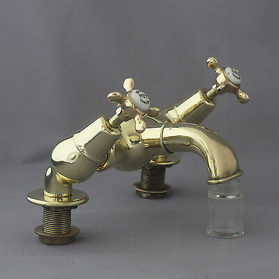 Set of Early 1900's Brass Bolding Mixer Taps