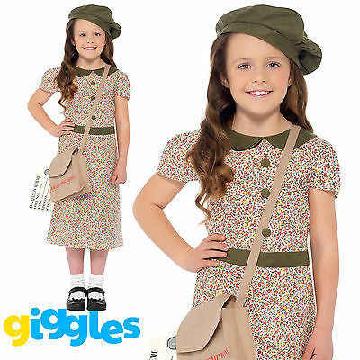 Girls Evacuee WW2 1940s Costume World Book Day Week Wartime Fancy Dress Outfit