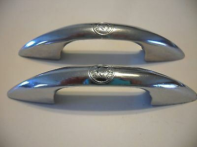 Two Vintage CHROME DRAWER Pulls Steel Cabinet Door Handles BILT-WELL Brand