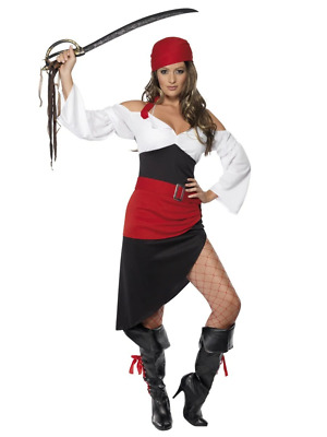 Sexy Pirate Wench Costume Womens Buccaneer Ladies Halloween Fancy Dress Outfit