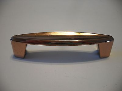 Vtg NOS COPPER Plated DRAWER Pulls Cast Metal Cabinet Handles Concave Face Ajax