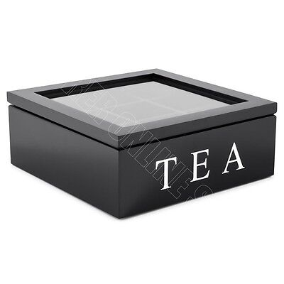 9 Compartments Wooden Tea Storage Box Glass Top Container Chest Tin Square Black