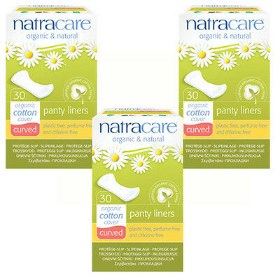Natracar Organic CURVED Panty Liners Cotton, Chlorine Free x 3 packs