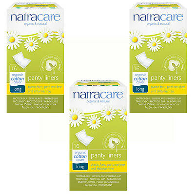 Natracar Organic Long Panty Liners - wrapped -Cotton, Chlorine Free x 3 packs