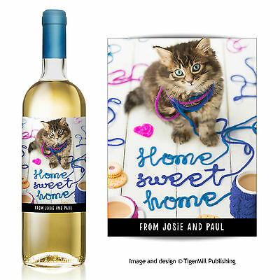 PERSONALISED Home sweet home wine bottle label new home moving house cat gift