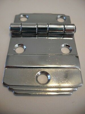Vintage 1950's NOS Polished Chrome Flush Mount Cabinet Door Hinge Stepped Edge