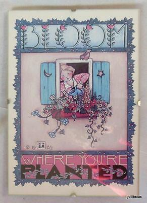 """Mary Engelbreit Print in 5 x 7 Clip Frame """"Bloom Where You Are Planted""""  1984"""