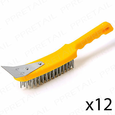 12 x HEAVY DUTY 5 Row Stainless Steel Wire Hand Brush With Scraper Metal Cleaner