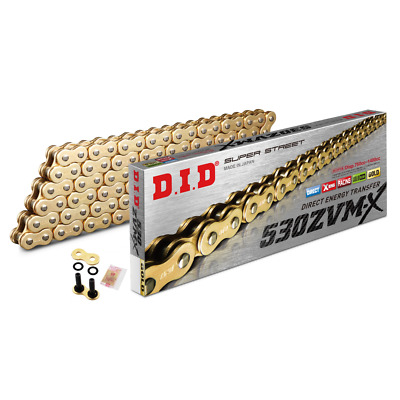 DID Gold Super Heavy Duty X-Ring Motorcycle Chain 530ZVMX GG 122 Rivet Link