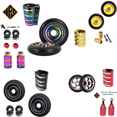 STUNT SCOOTER SET 2 110mm BLACK CORE WHEELS ABEC 11 BEARING PEGS QUAD CLAMP