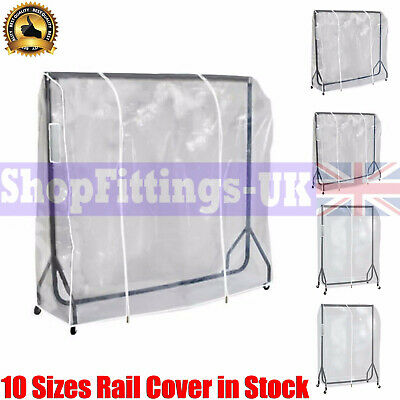 2ft,3ft,4ft,5ft and 6ft Clear Zipped Clothes Rail Cover Garment Retail Display