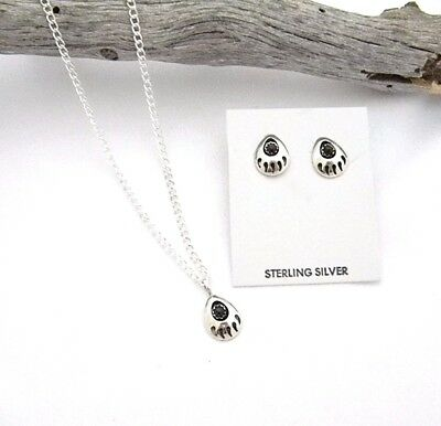 Onyx Bear Paw Sterling Navajo Necklace Earring Gift Set 1003